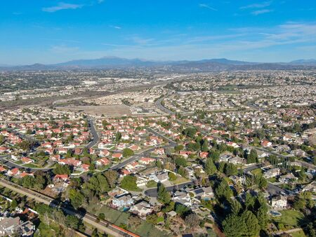 Aerial view of residential town during blue sunny day in Temecula, California, USA. Stockfoto