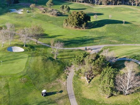 Aerial top view of golf course with green field. Green turf scenery. Temecula, California, USA 스톡 콘텐츠