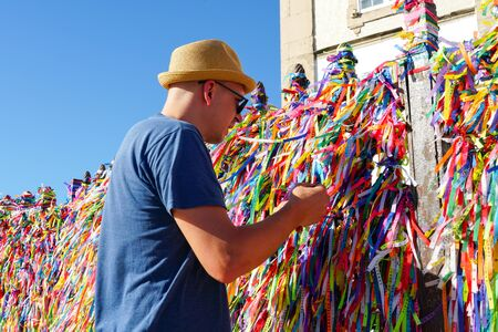 Igreja de Nosso Senhor do Bonfim, a catholic church located in Salvador, Bahia in Brazil. Famous touristic place where people make wishes while tie the ribbons in front of the church. February 22nd, 2019 Publikacyjne