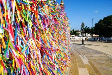 Igreja de Nosso Senhor do Bonfim, a catholic church located in Salvador, Bahia in Brazil. Famous touristic place where people make wishes while tie the colorfull ribbons in front of the church.