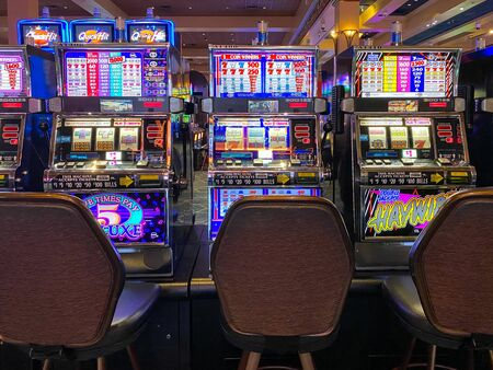 Rows of casino slot machines. Las Vegas, Nevada, USA February 24th, 2020