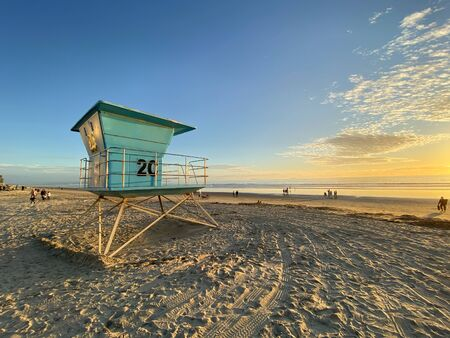 Lifeguard tower on the Coronado Beach during sunset time. San Diego, California, USA.