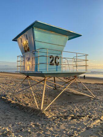 Lifeguard tower on the Coronado Beach during sunset time. San Diego, California, USA. Foto de archivo