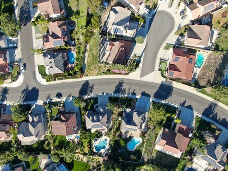 Aerial top view of residential subdivision house in Diamond Bar, Eastern Los Angeles, California, USA