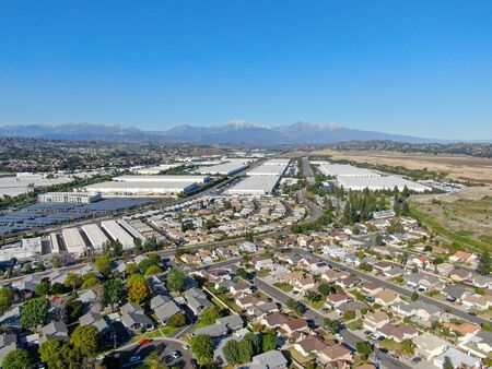 Aerial view of Diamond Bar City with houses and small factories, California, Eastern Los Angeles, California, USA