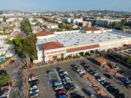 Aerial view of The Home Depot store and parking lot in Los Angeles, California, USA. Home Depot is the largest home improvement retailer and construction service in the US. March 5th, 2020