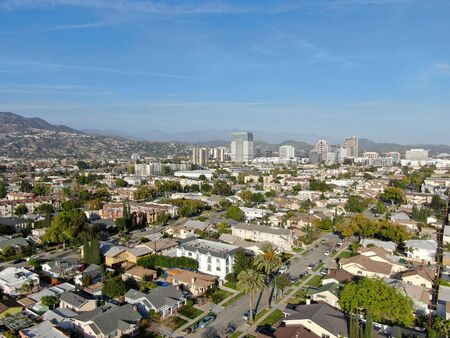 Aerial view of downtown Glendale, city in Los Angeles County, California. USA