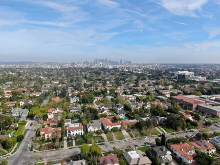 Aerial view of Central Los Angeles area with downtown on the background , California. USA