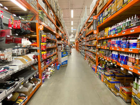 The Home Depot store department section aisles in San Diego, California, USA. The Home Depot is the largest home improvement retailer and construction service in the US. March, 15h, 2020