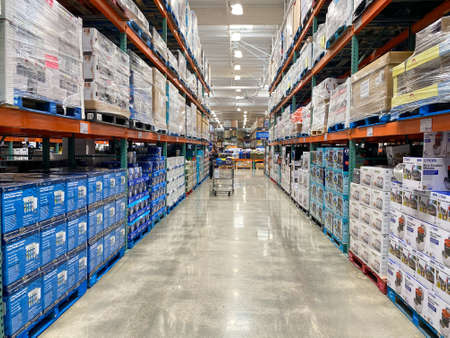 Ailse in a Costco store different products. Costco Wholesale Corporation is the largest membership-only warehouse club in US. . San Diego, USA, April 4th, 2020 Editoriali
