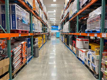 Ailse in a Costco store different products. Costco Wholesale Corporation is the largest membership-only warehouse club in US. . San Diego, USA, April 4th, 2020 Editorial