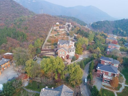 Aerial view of expensive villas in countryside suburb of Beijing during foggy day, Chanping, China Stock fotó