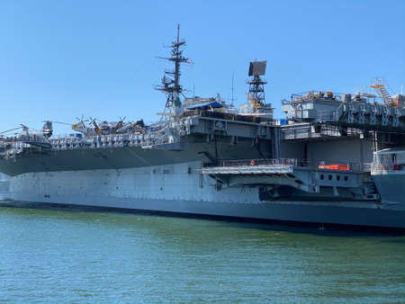 The USS Midway, retired Navy ship, stands at San Diego harbor, California, USA. April 18th, 2020 Editorial