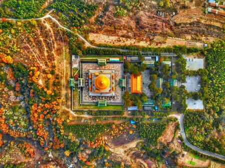 Aerial view of The Temple of Universal Happiness, Pule si, also called the round Pavillion, this structure was built in 1766. Little temple at the starting point for hammer rock hike, Chengde, China.
