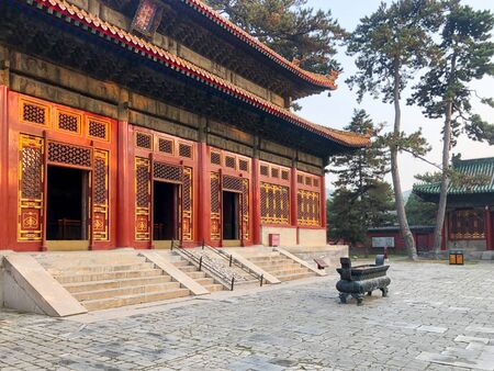 The Temple of Universal Happiness, Pule si, also called the round Pavillion, this structure was built in 1766. Little temple at the starting point for hammer rock hike, Chengde, China.