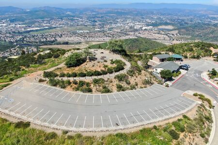 Aerial view of Double Peak Park in San Marcos. 200 acre park featuring a play area and hiking trails that lead to a summit.