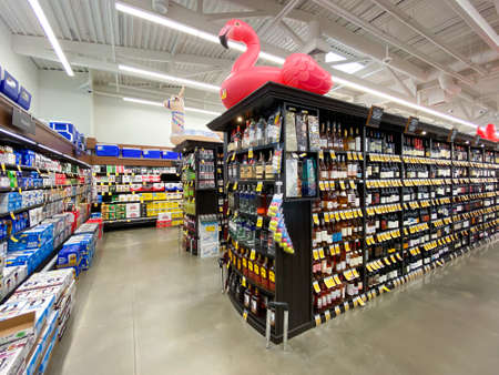 Interior view of a supermarket with alcohol aisle with shelves full of variety of products, Vons supermarket, Catalina, USA, June 20th, 2020 Editorial