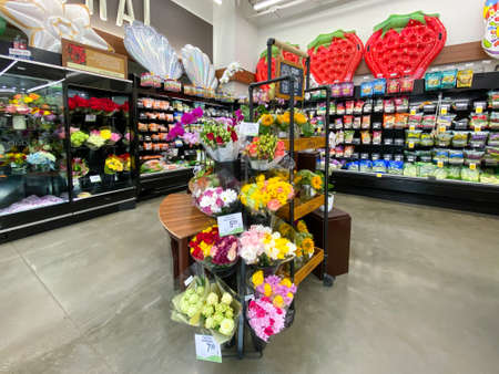 Interior view of a supermarket with flower aisle with shelves full of variety of products, Vons supermarket, Catalina, USA, June 20th, 2020 Editorial
