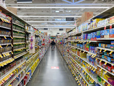 Interior view of a supermarket with aisle with shelves full of variety of products, Vons supermarket, Catalina, USA, June 20th, 2020 Editorial