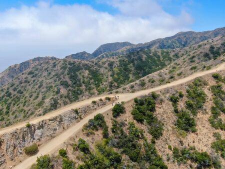 Aerial view of hiking trails on the top of Santa Catalina Island mountains. California, USA Фото со стока