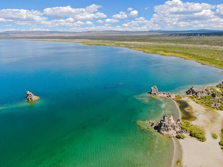 Aerial view of Mono Lake with tufa rock formations during summer season, Mono County, California, USA Stock Photo