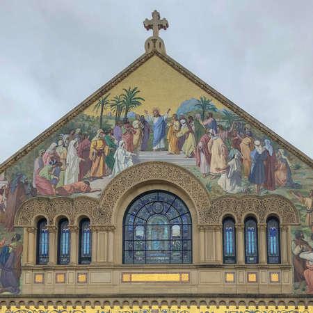 Memorial Church in Main Quad of Stanford University Campus in Palo Alto, California. USA June 16, 2020