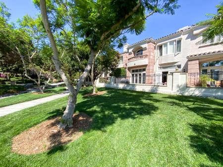 Public Park with green garden and landscape design surrounded by villa in La Jolla, California. USA