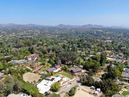 Aerial view of suburb area with residential villa in San Diego, South California, USA.