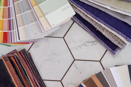 Interior Design materials tools for house decoration. home decoration
