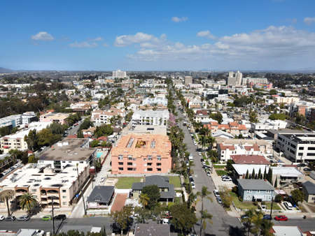 Aerial view above Hillcrest neighborhood in San Diego, California. USA
