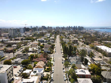 Aerial view above Hillcrest neighborhood with downtown San Diego on the background, California. USA