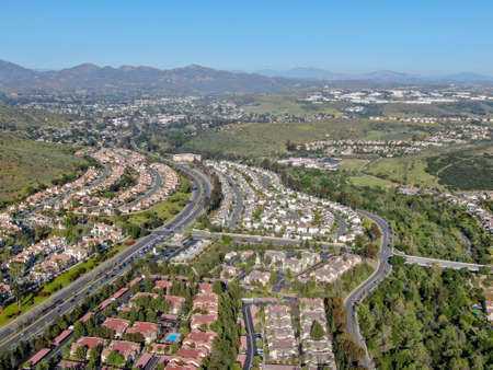 Aerial view of upper middle class neighborhood with big villas around in San Diego, California, USA. Stok Fotoğraf
