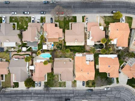 Aerial view of neighborhood in Hemet city in the San Jacinto Valley in Riverside County, California, USA.