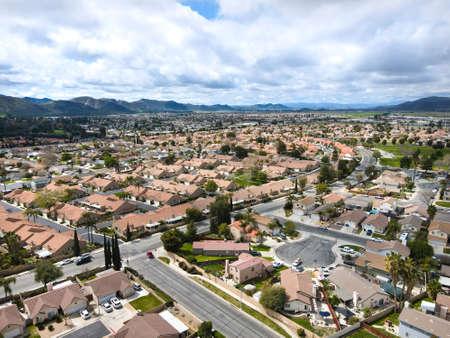 Aerial view of Hemet city in the San Jacinto Valley in Riverside County, California, USA. Foto de archivo