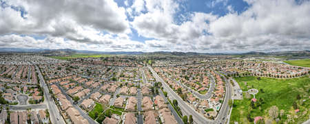 Aerial panoramic view of Hemet city in the San Jacinto Valley in Riverside County, California, USA. Stok Fotoğraf