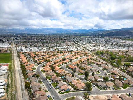 Aerial view of Hemet city in the San Jacinto Valley in Riverside County, California, USA. Stok Fotoğraf