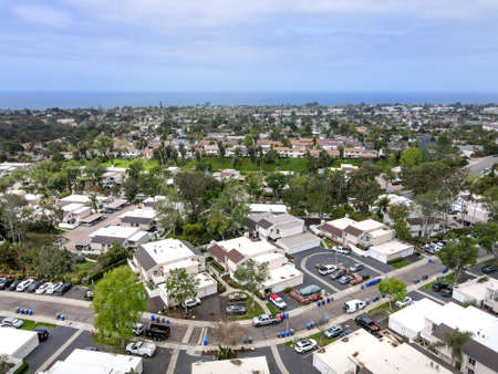 Aerial view of condominium house community in Cardiff, town, community in the incorporated city of Encinitas in San Diego County, California. USA