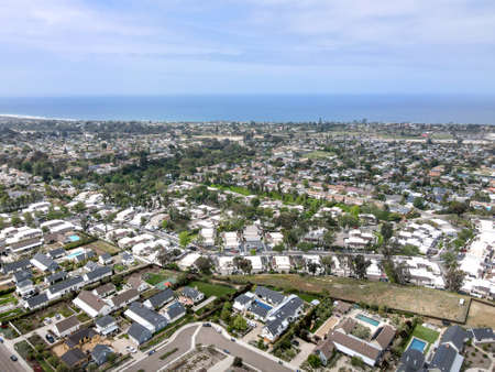 Aerial view of Cardiff town, community in the incorporated city of Encinitas in San Diego County, California. USA Stok Fotoğraf
