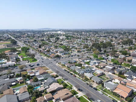 Aerial view of Lakewood middle class neighborhood, city in Los Angeles County, California, United States. Stok Fotoğraf