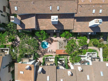Aerial top view of townnhouse condos in Carlsbad, North County San Diego, California, USA. Reklamní fotografie