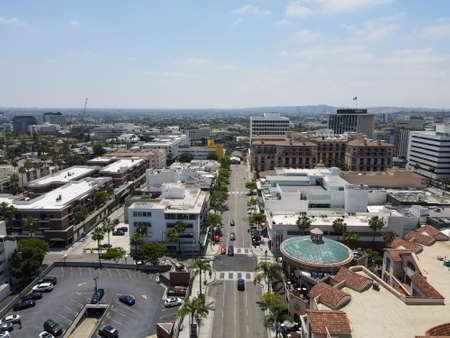 Aerial view of the luxury shopping area of Rodeo Drive in Beverly Hills, Los Angeles, California, USA. June 05th, 2021