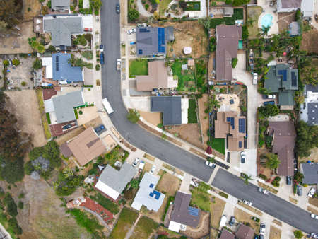 Aerial view of middle class Oceanside town in San Diego, California. USA