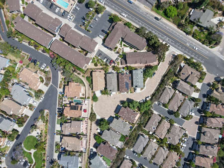 Aerial top view of suburb area with residential villa in San Diego, Encinitas, South California, USA.