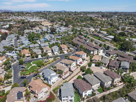Aerial view of large-scale villa in wealthy residential town Encinitas, South California, USA. Archivio Fotografico
