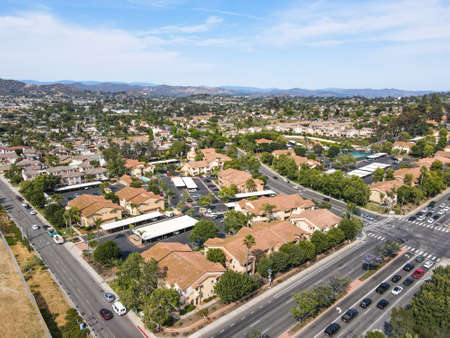 Aerial view of San Marcos neighborhood with houses and street during sunny day, California, USA. Archivio Fotografico