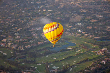 Colorful hot air balloons on the sky over San Diego, California. USA