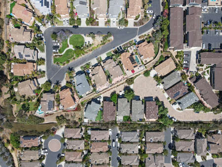 Aerial top view of suburb area with residential villa in San Diego, South California, USA.