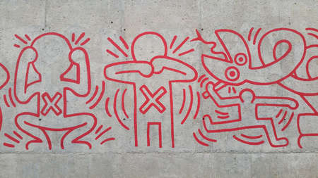 Keith Haring mural in Barcelona in favor of the fight against AIDS.