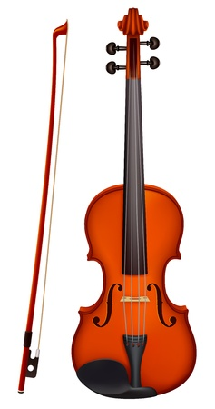Vector illustration - vector violin with the fiddlestick  EPS 10, RGB  Created with gradient mesh