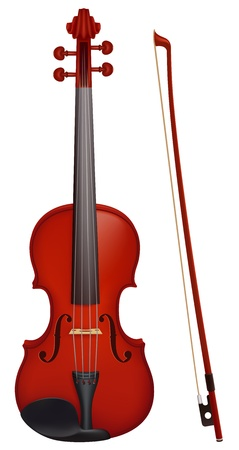 violines: ilustración - violín con el palo de violín. Creado con malla de degradado.